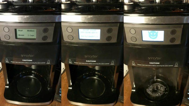 Cafeteira Smarter hackeada. Crédito: Dan Goodin/YouTube