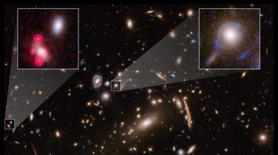 Imagem do Hubble mostrando o aglomerado de galáxias MACSJ 1206, com galáxias individuais inseridas e distorcidas por um efeito astronômico conhecido como lente gravitacional. Imagem: NASA, ESA, G. Caminha (Universidade de Groningen), M. Meneghetti (INAF/Observatório de Astrofísica e Ciências Espaciais de Bolonha), P. Natarajan (Universidade de Yale), equipe CLASH