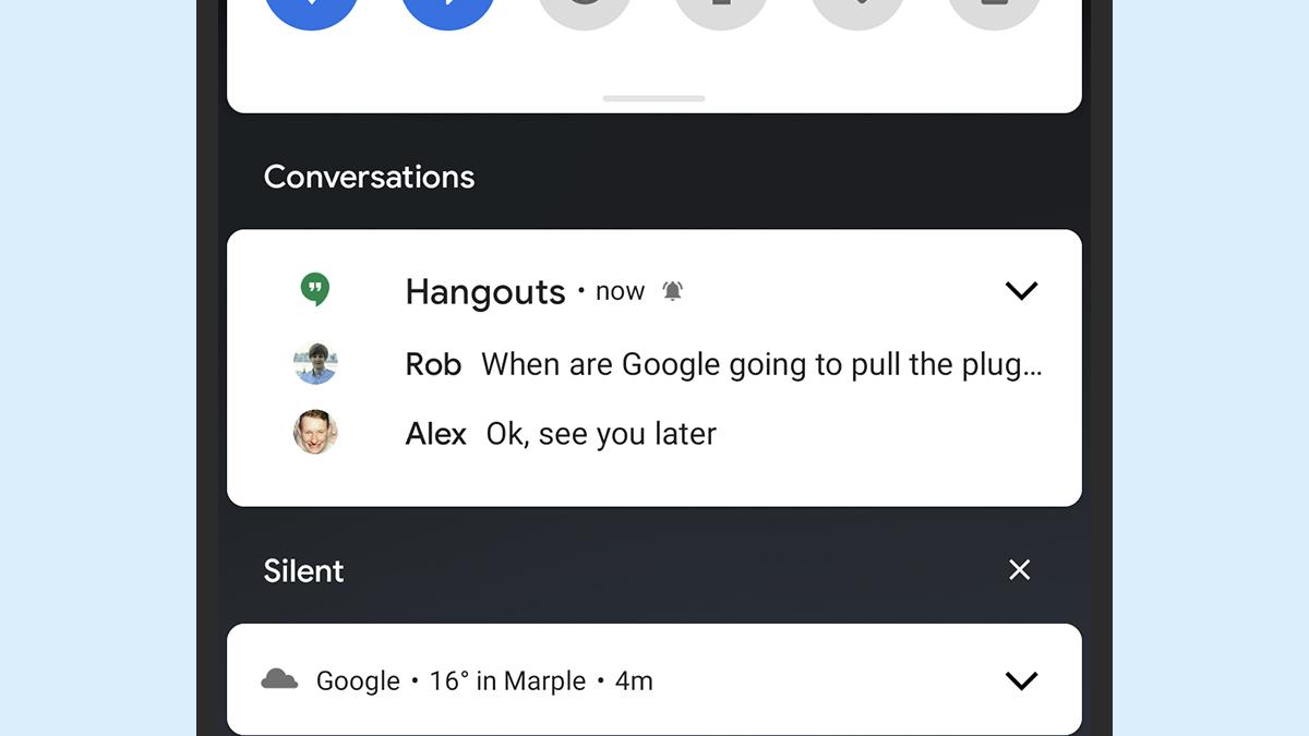 Funcionalidade mostra conversas organizadas no Android 11. Crédito: Captura de tela