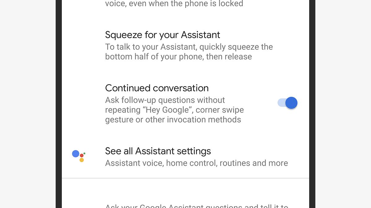 Conversa continuada no Google Assistente