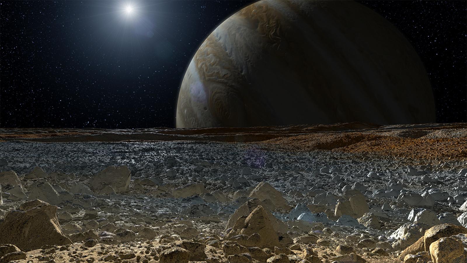 Concepção artística de Europa, que é uma lua de Júpiter. Crédito: NASA