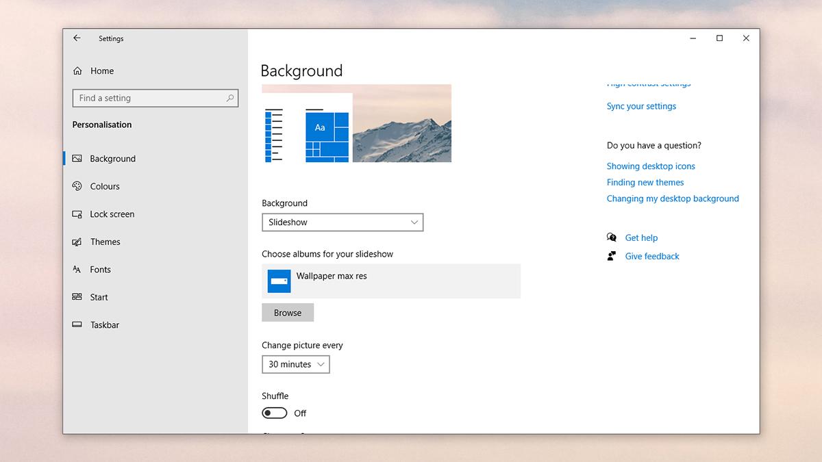 Definir slideshow como fundo de tela no Windows 10