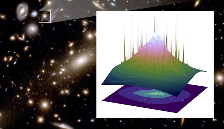 Imagem do Hubble do aglomerado de lentes MACS J1206. A imagem inserida mostra a distribuição espacial da matéria escura, com as pontas indicando galáxias individuais. Imagem: NASA, ESA, G. Caminha (Universidade de Groningen), M. Meneghetti (Observatório de Astrofísica e Ciências Espaciais de Bolonha), P. Natarajan (Universidade de Yale) e equipe CLASH