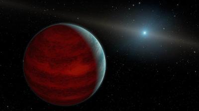 Uma imagem conceitual de um planeta na órbita de sua estrela anã branca. Crédito: NASA/JPL