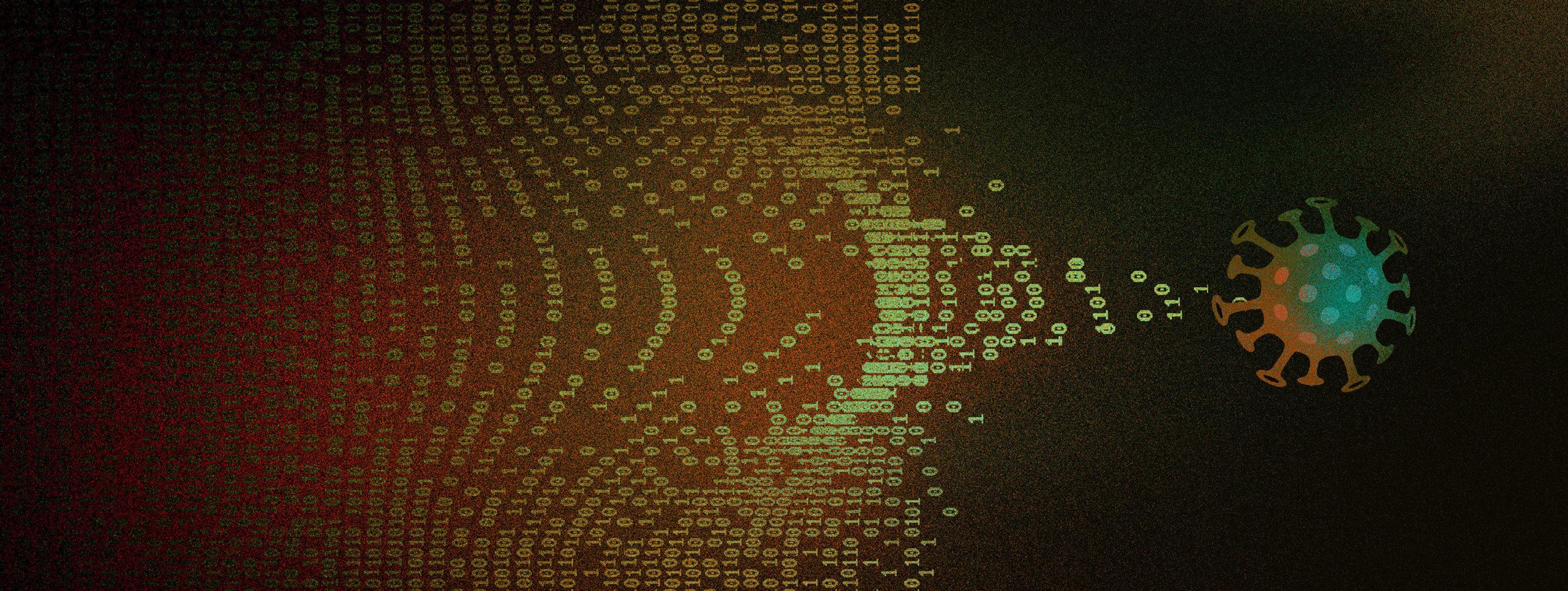 Ilustração mostra coronavírus sendo seguidos por zeros e uns. Crédito: Angelica Alzona/Gizmodo