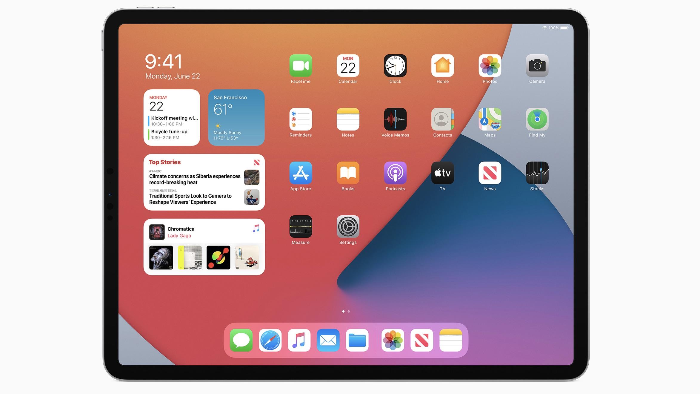 Interface do novo iPadOS