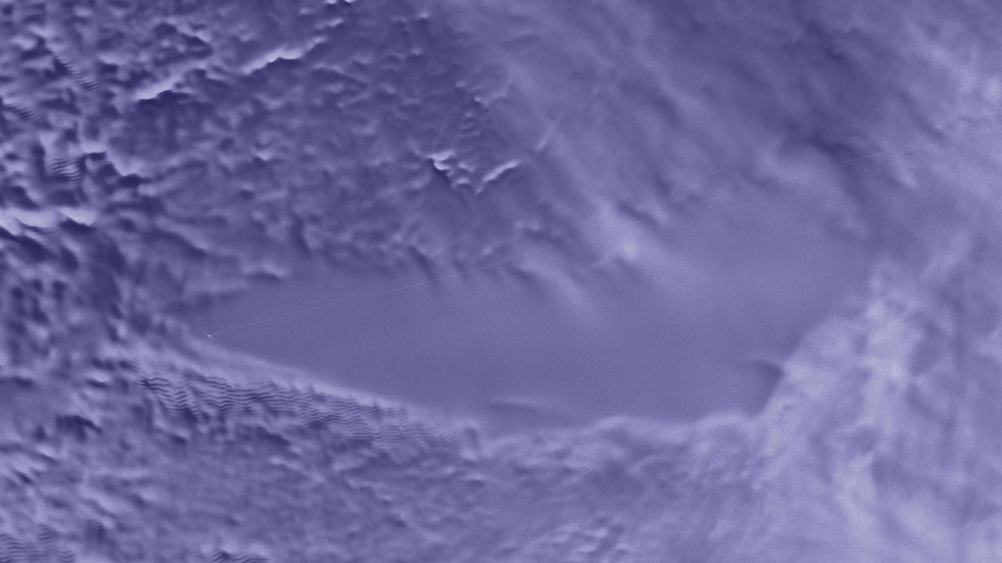Visão de radar do lago Vostok, localizado bem abaixo do gelo da Antártica. Crédito: NASA Scientific Visualization Studio