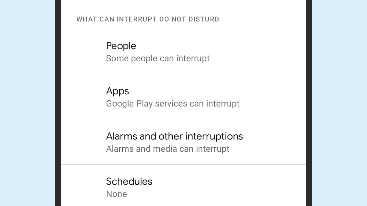 No Android 11, modo Não Perturbe permite detalhar pessoas e apps que podem furar o bloqueio