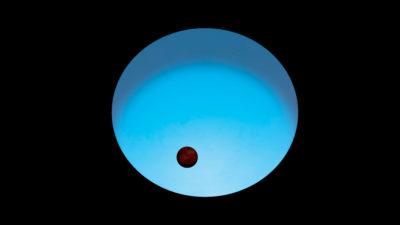 Uma estrela azul distante da Terra abriga um dos exoplanetas mais quentes do universo. Imagem: ESA
