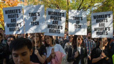 Protesto feito por trabalhadores do Google. Crédito: Bryan R. Smith/Getty Images