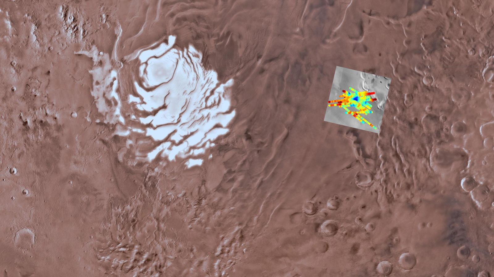 Imagem em mosaico mostra a localização de um suposto reservatório subterrâneo, em que a cor azul representa a água líquida. Crédito: USGS Astrogeology Science Center, Arizona State University, INAF
