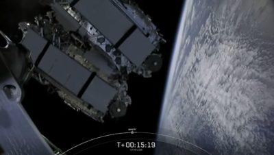 Implementação de 60 novos satélites Starlink no dia 3 de setembro. Crédito: Captura de tela
