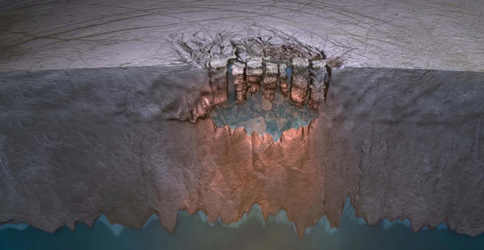Representação artística do terreno caótico de Europa. Crédito: NASA