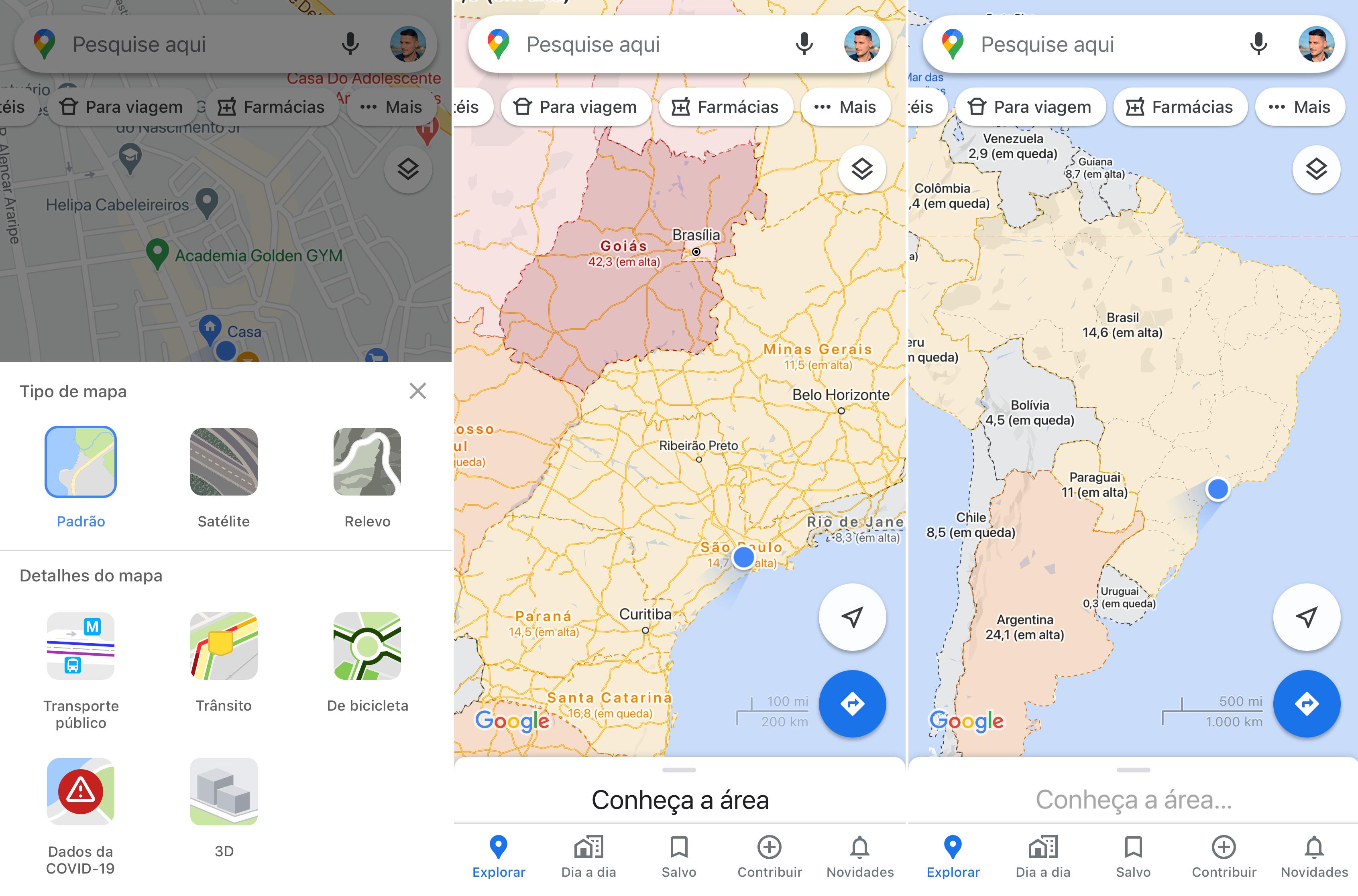 Google Maps mostra novos casos de COVID-19 na região