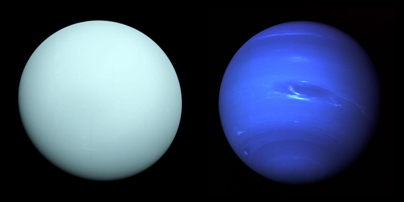 Urano (esq.) e Netuno (dir.). Crédito: NASA/JPL-Caltech
