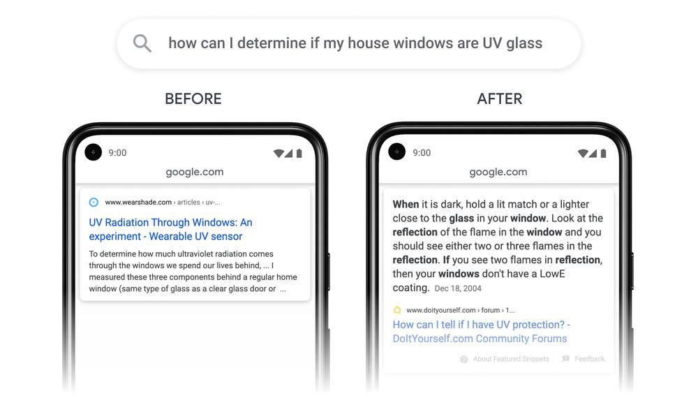 Imagem mostrando o antes e o depois da mudança nas buscas específicas. Uma busca sobre como saber se as janelas têm proteção UV antes retornava um link genérico sobre proteção UV em janelas. Agora, retorna um resultado específico mostrando como saber se uma janela tem proteção UV.