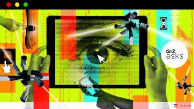 Arte com telas de vários dispositivos, câmeras e olhos. Ilustração por Elena Scotti/Gizmodo com imagens Getty Images e Shutterstock