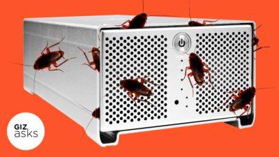 Computador infestado com baratas. Ilustração por Elena Scotti/Gizmodo com imagens Shutterstock