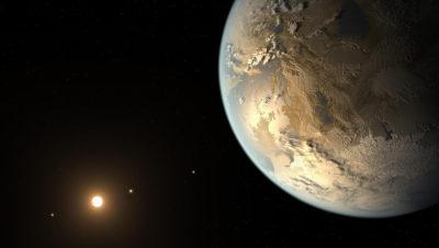 Impressão artística de um planeta na zona habitável do universo. Crédito: NASA