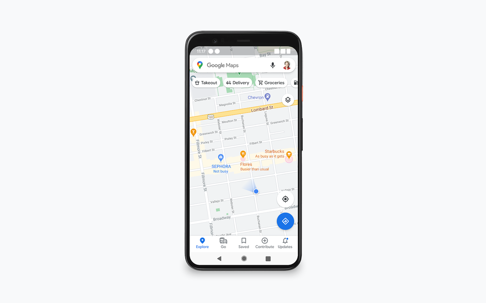 The Google Maps screen shows locations and information about whether there are a few or many people in them at the moment.
