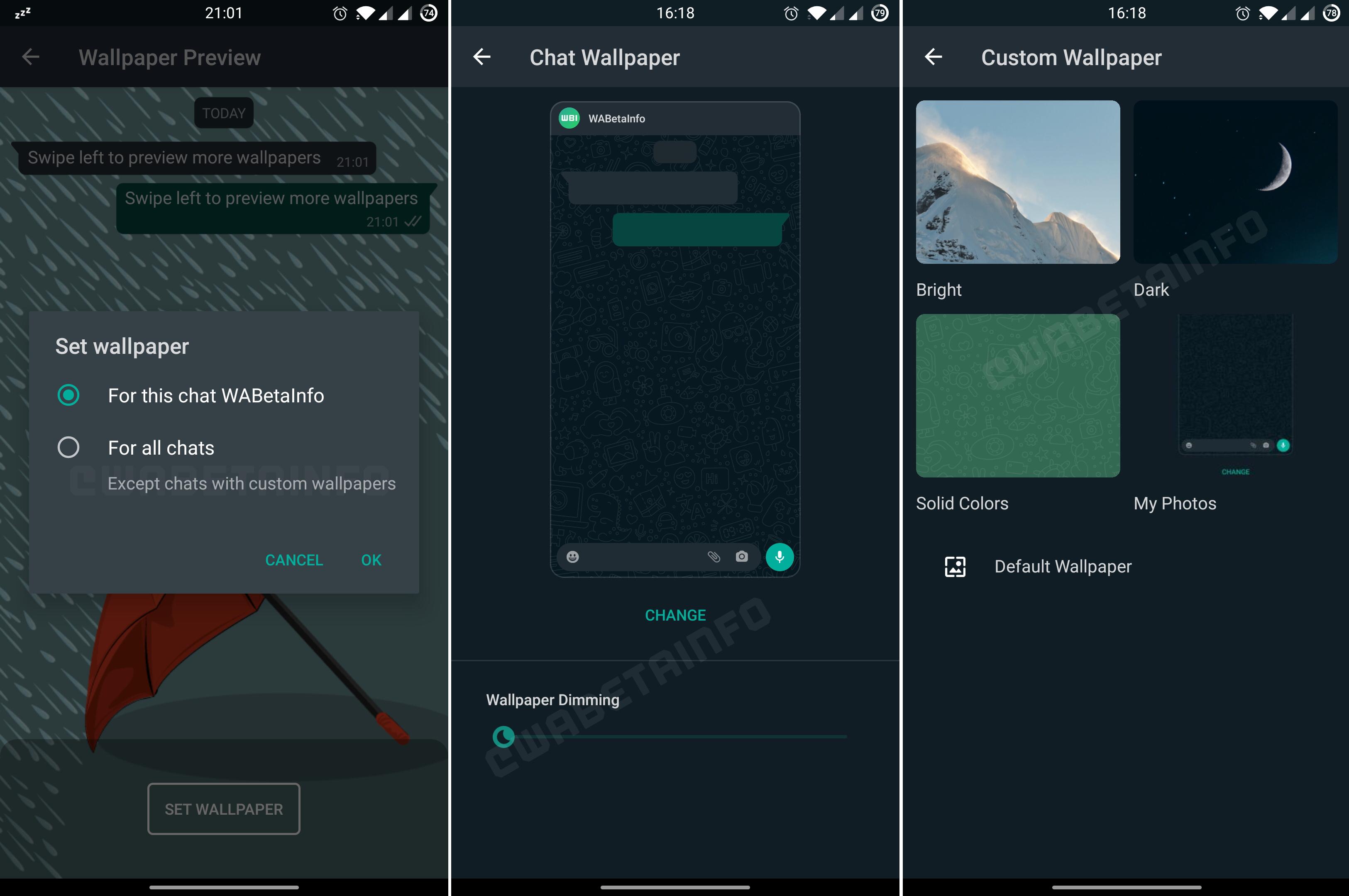 WhatsApp testa função de troca de wallpaper. Imagem: Wabetainfo