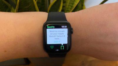 Spotify no Apple Watch. Imagem: Catie Keck (Gizmodo)