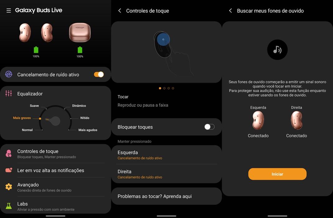 Telas do app Galaxy Wearable mostrando configurações do Galaxy Buds Live