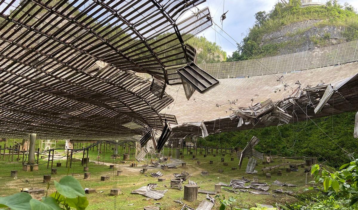 Observatório de Arecibo danificado em agosto de 2020. Imagem: UCF Today