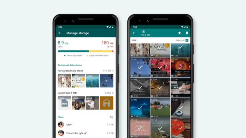 Duas telas do novo recurso do WhatsApp. Na da esquerda, uma barra mostra a memória ocupada pelo WhatsApp, e há duas seções para arquivos muito compartilhados e arquivos maiores que 5 megabytes. Na da direita, várias fotos e vídeos estão selecionados.