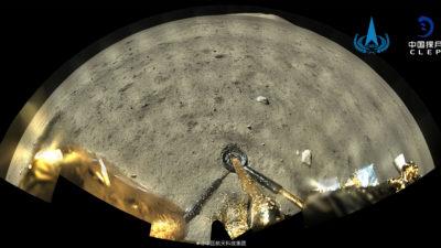 Sonda chinesa Chang'e-5 na Lua. Imagem: CNSA