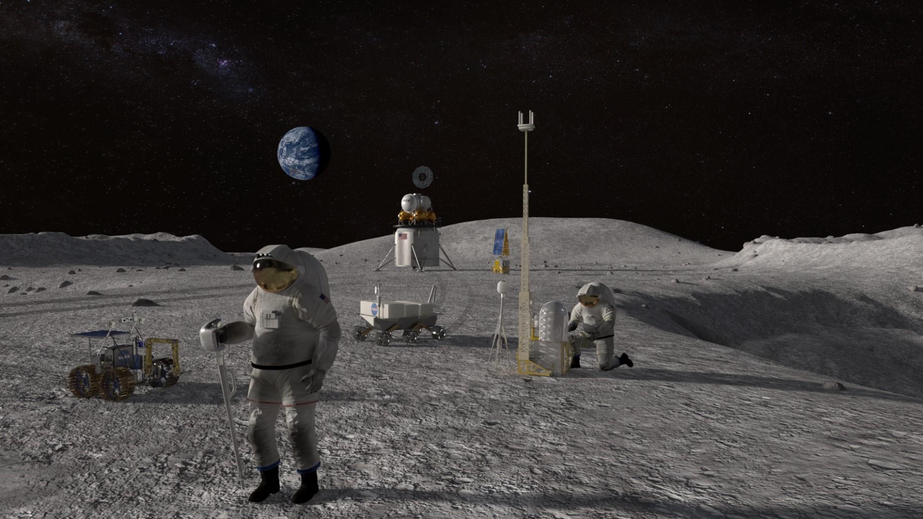 Concepção artística dos astronautas na Missão Artemis III, programada para 2024. Imagem: NASA