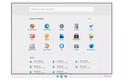 Windows 10X em execução em um dispositivo de tela única. (Imagem: Reprodução/The Verge)