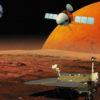 Ilustração artística do orbitador e rover Tianwen 1 em Marte. Crédito: CNSA / Academia Chinesa de Ciências/Astronomia da Natureza