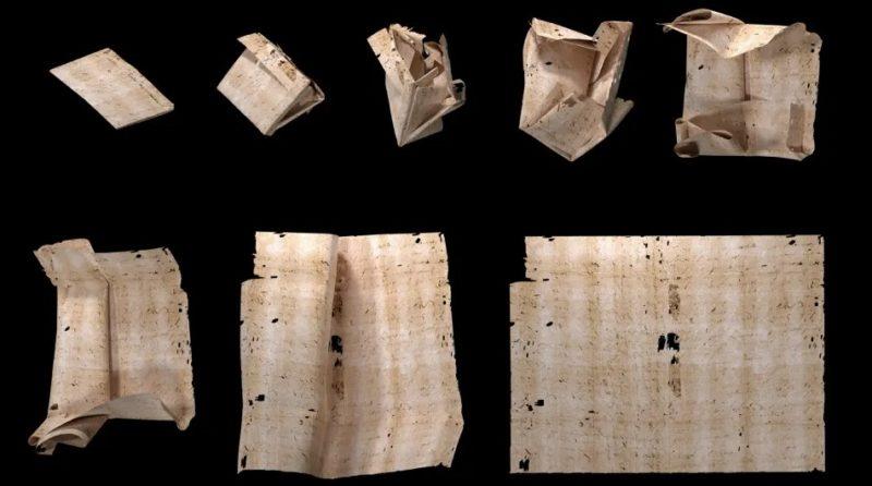Uma representação gerada por computador do desdobramento virtual passo a passo da carta. Imagem: Cortesia do arquivo do Unlocking History Research Group.