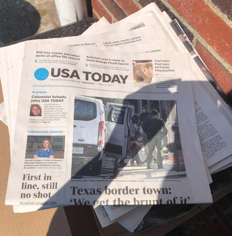 A capa real da edição de fim de semana de 4 de junho do USA Today.